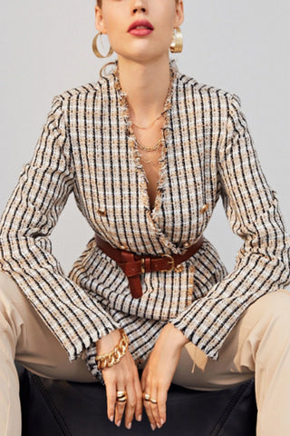VOKJJ Raw Edge Double Breasted Plaid Tweed Blazer Without Belt