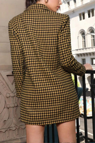 VOKJJ Double-breasted Houndstooth Tweed Blazer Dress Without Belt