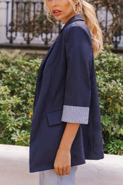Navy Blue Striped Rolled Cuff Open Front Notched Lapel Blazer