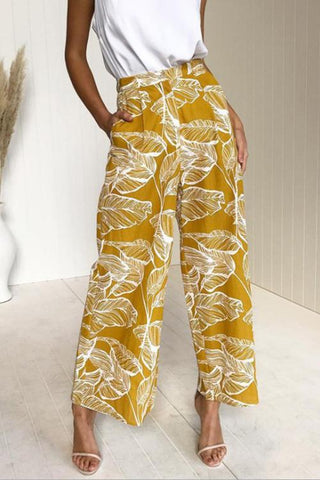 VOKJJ Flare Leaves Print Straight-leg Pants (4 Colors) - Hellosuitlady