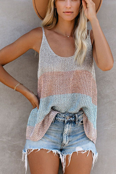 Casual round neck thin shoulder top