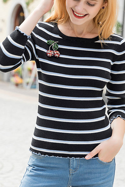 Elastic stripe round neck T-shirt