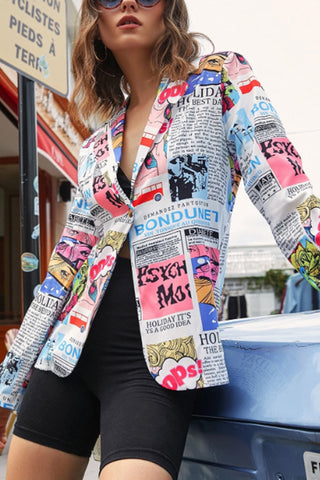 Pop Art Print Single Button Notch Lapel Blazer