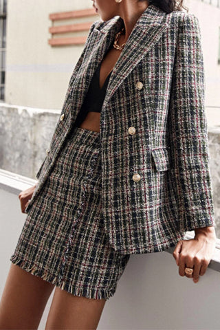 Notch Lapel Neck Tweed Check Blazer Suit
