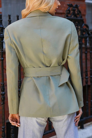Mint Green Notch Lapel Buckle Belted Blazer