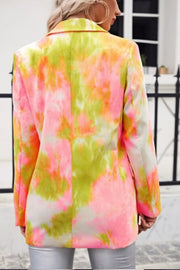 VOKJJ Tie Dye Single Button Peak Lapel Collar Multicolor Blazer