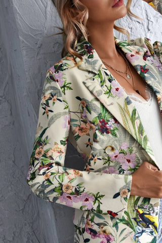 VOKJJ Allover Floral Print Double Breasted Blazer