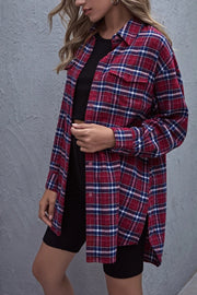 VOKJJ Collared Single Breasted Flap Pocket Front Tartan Blouse