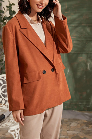 Double Button Orange Solid Longline Peak Lapel Blazer