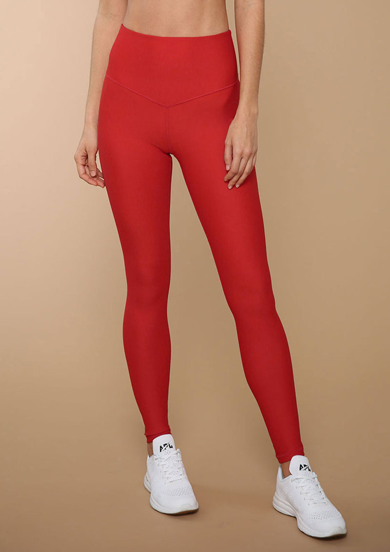 High-waist V-front Legging in Siren Red from BLA | Quality Activewear for Women