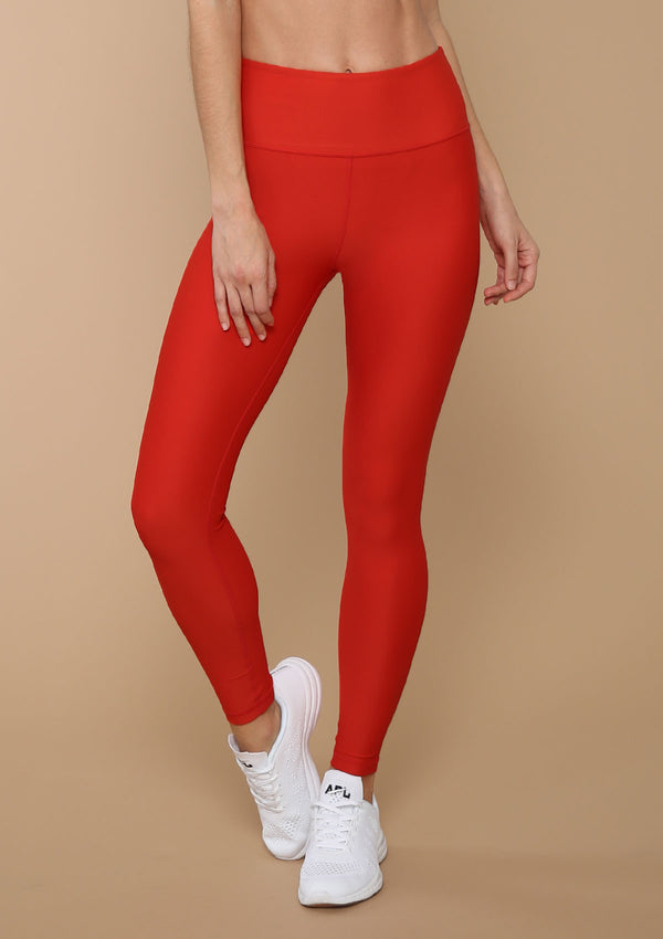 BLANK LABEL ACTIVE SIREN RED MID-RISE ANKLE LENGTH LEGGING
