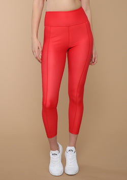 NO. 0113 HIGH-RISE SEAMED LEGGING- SIREN RED