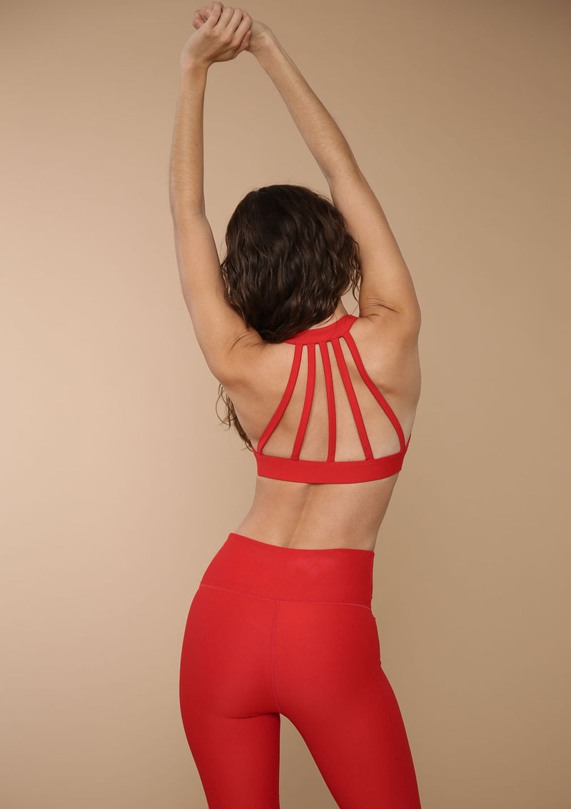 Hi-neck Back Paneled Sports Bra in Siren Red by Blank Label Active