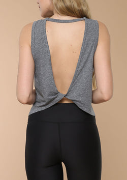 Blank Label Active Tank With Open Back and Twist Detail