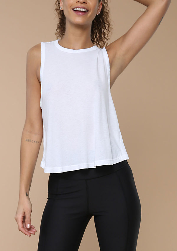 Blank Label Active Open Twist Back Tank In White