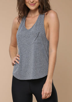 Blank Label Active Racer Back Tank With Pocket Detail in Heather Grey