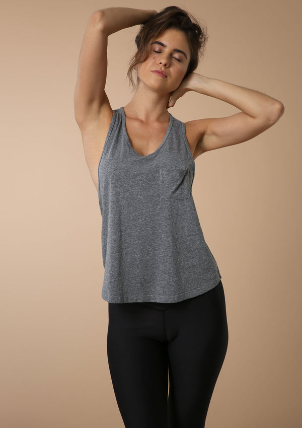 Blank Label Active Essential Draped Front Pocket Tank In Heather Grey