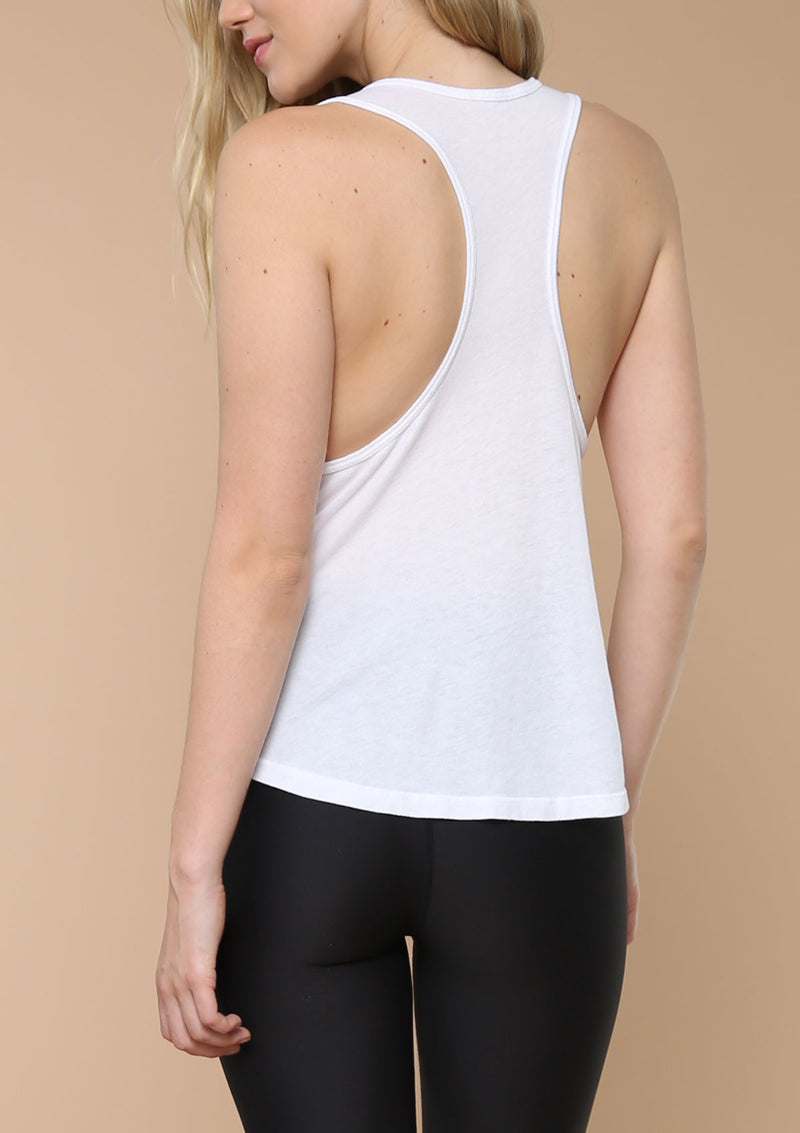 Blank Label Active Racer Back White Tank With Draped Pocket