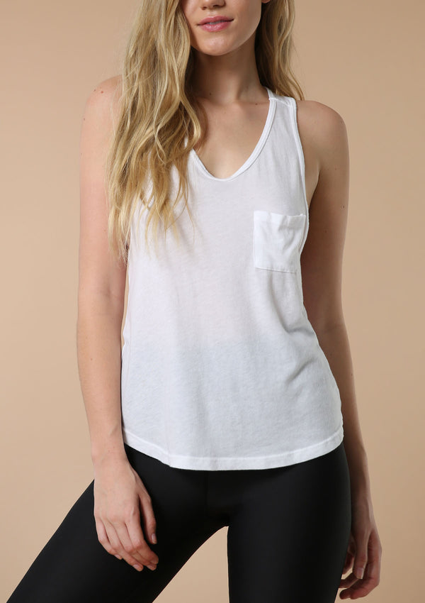 Blank Label Active White Tank With Drapey Pocket
