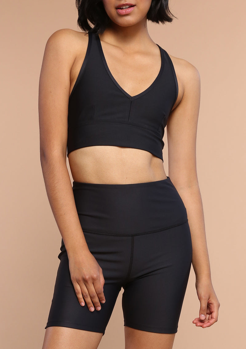 NO. 0127 DEEP V SPORTS BRA- BLACK