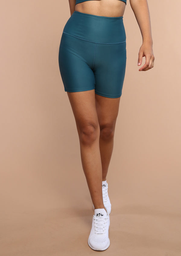NO. 0114 HIGH-RISE BIKE SHORT- TROPICAL TEAL