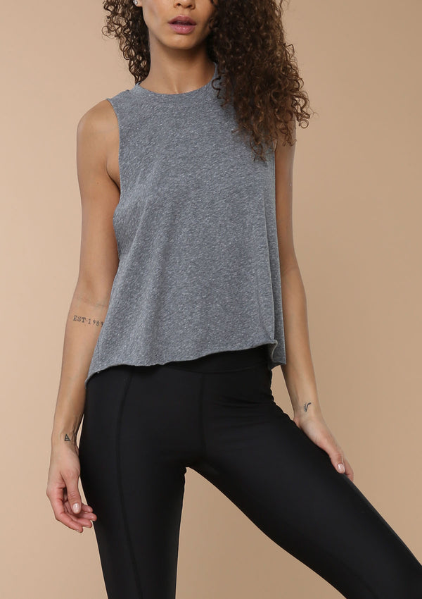 Blank Label Active Standard Muscle Tank in Heather Grey