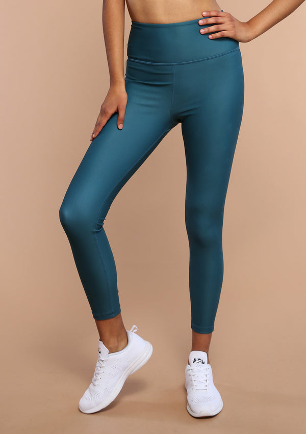 NO. 0115 ZIPPER POCKET LEGGING- TROPICAL TEAL