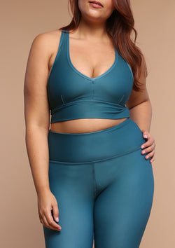 NO. 0127 DEEP V SPORTS BRA- TROPICAL TEAL