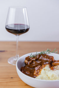 Slow cooked lamb shanks with mash