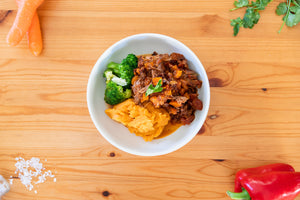 Slow cooked lamb with sweet potato mash