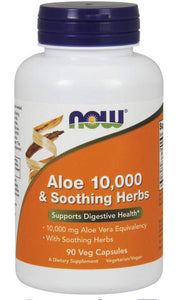 NOW Aloe 10,000 & Soothing Herbs,90 Veg Capsules