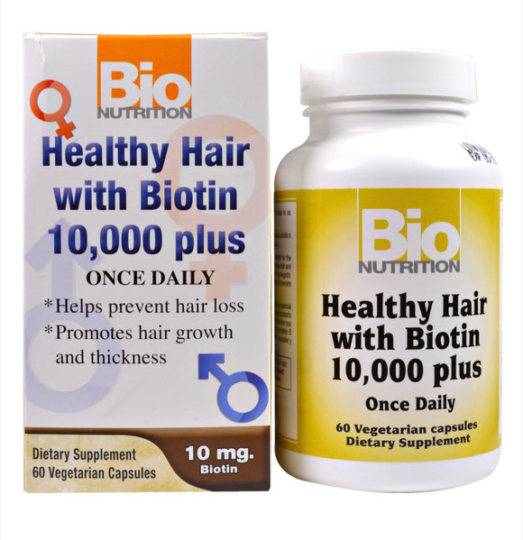 Healthy Hair with Biotin 10,000 Plus - 60 Vegicaps - Bio Nutrition