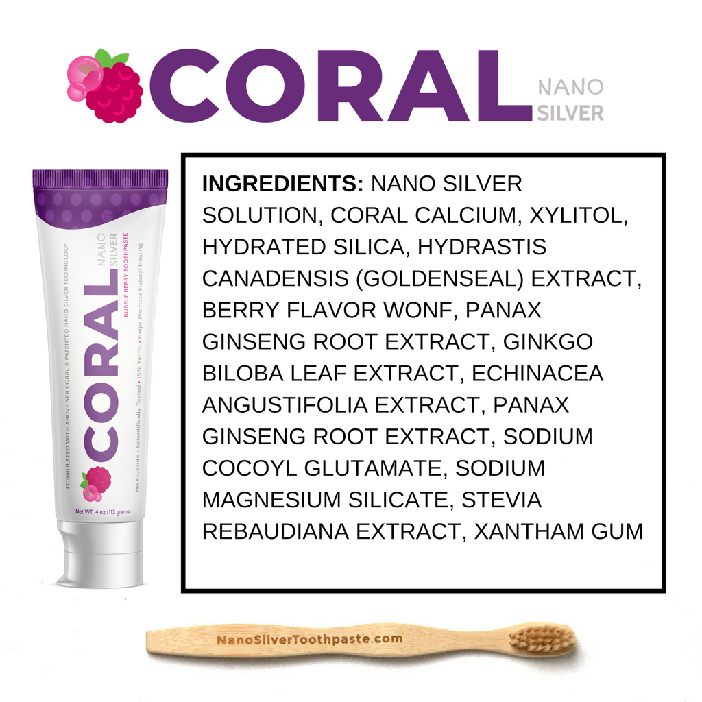 Coral Nano Silver Toothpaste w/FREE Starter Bundle incl. Tube squeezer and Toothbrush