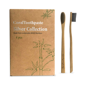 Natural and Organic Silver Bristle Bamboo Toothbrush - 4 Pack