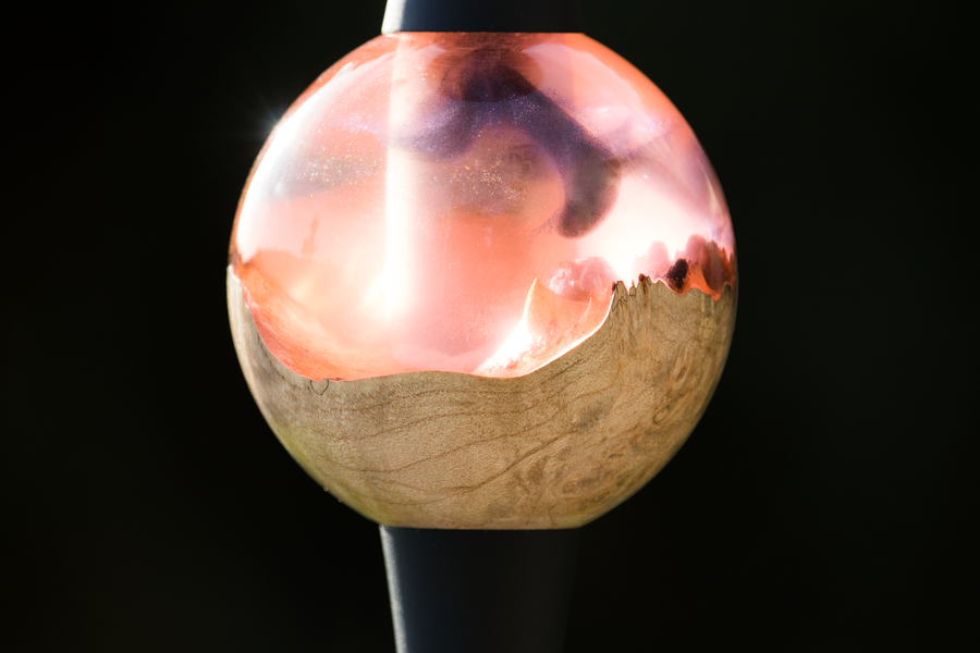 B2-Hookah F-22 Orb Royal Caves, a Precious Cut Collection Resin & Burl Wood