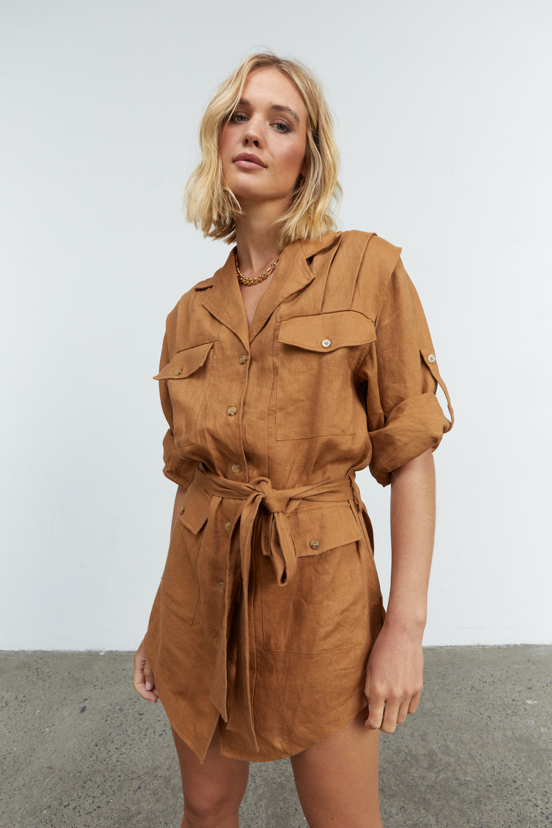 SOVERE-RIVAL-SHIRT-DRESS-TOFFEE