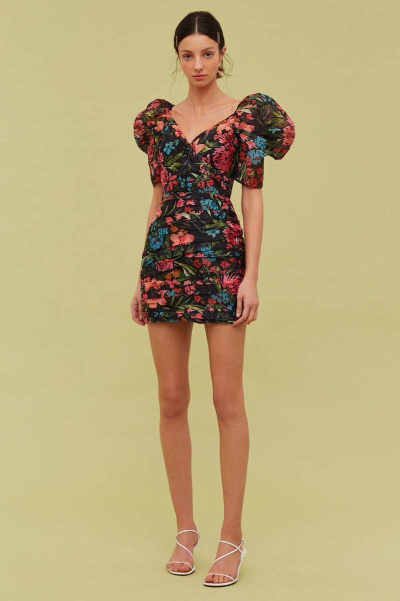 CMEO Collective - DIGRESS MINI DRESS - BLACK FLORAL