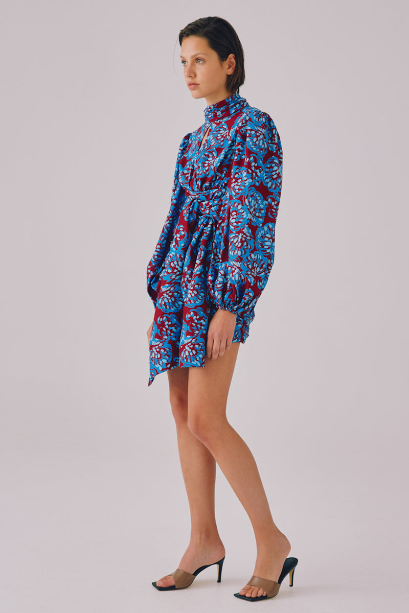 SOUND ADVICE LS DRESS - BERRY BRUSHED FLORAL