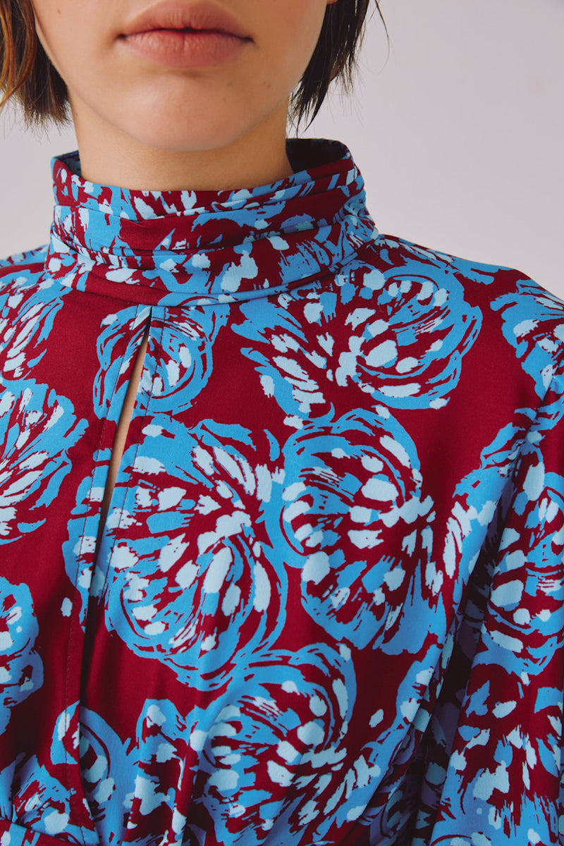 SOUND ADVICE LS TOP - BERRY BRUSHED FLORAL