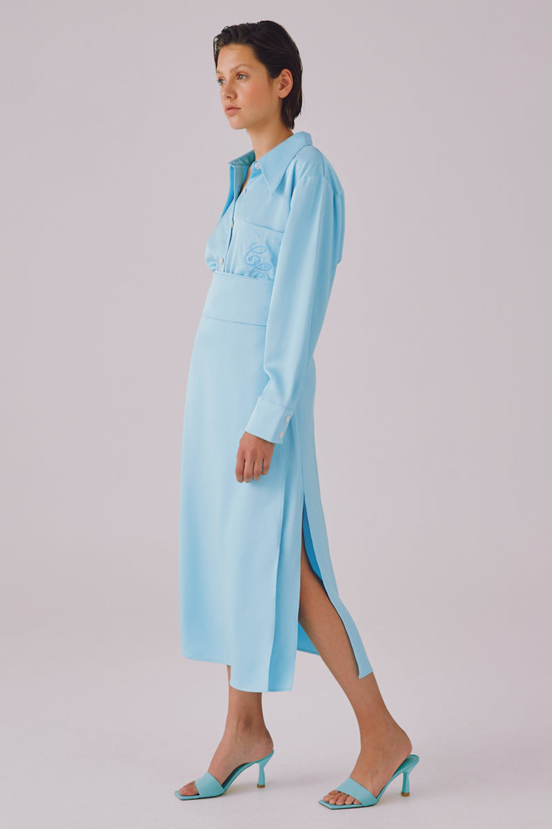 cmeo collective GET TO KNOW SKIRT - SKY BLUE