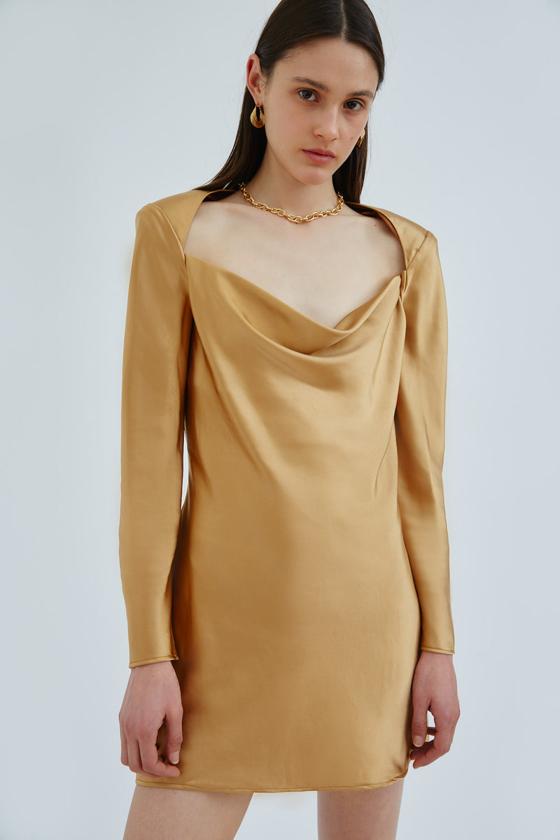C/MEO-COLLECTIVE-ENTWINE-LS-DRESS-GOLD