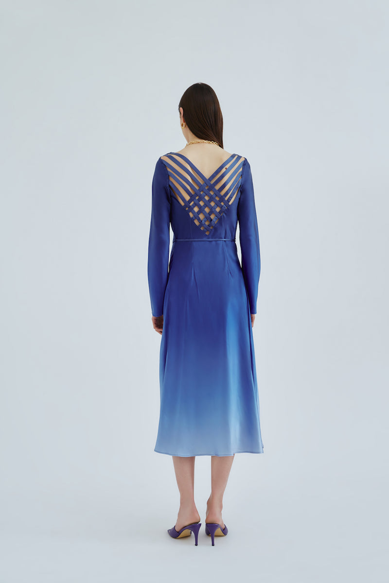 cmeo-collective-ENTWINE-MIDI-DRESS-COBALT-OMBRE