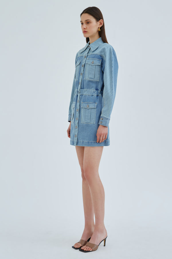 C/MEO-REVERT-DRESS-BLUE-TWO-TONE-DENIM
