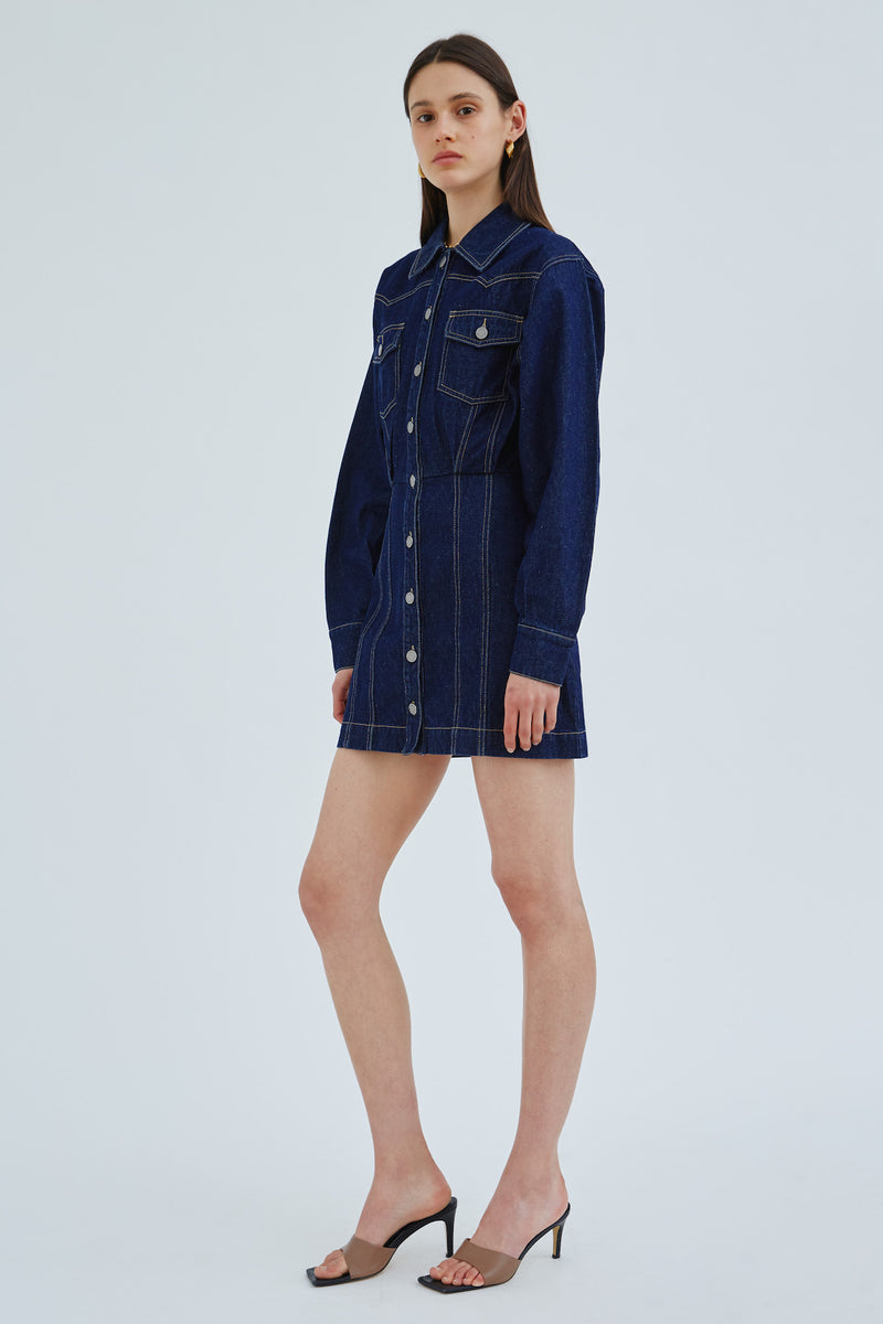 C/EMO-COLLECTIVE-PINNACLES-DRESS-INDIGO-DENIM