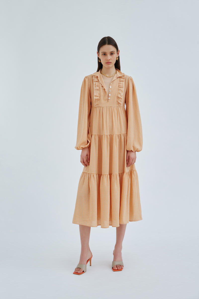 CMEO-COLLECTIVE-CONTINUAL-MIDI-DRESS-ORANGE-CHECK