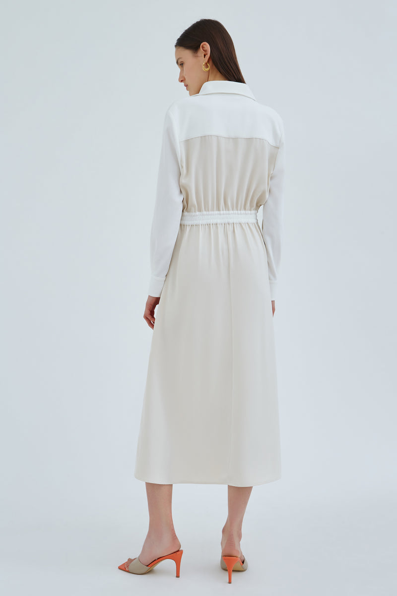 C/MEO-IMMENSE-MIDI-DRESS-ECRU-W IVORY