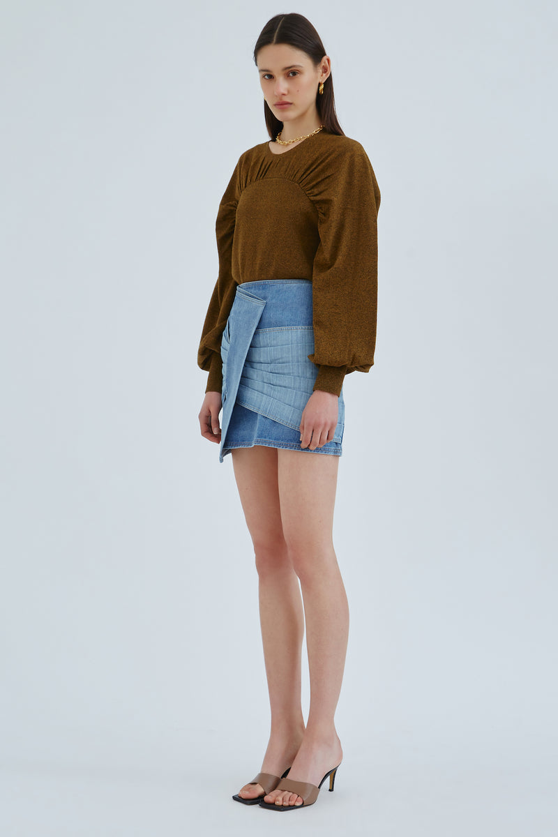 C/MEO-REVERT-SKIRT-BLUE-TWO-TONE-DENIM