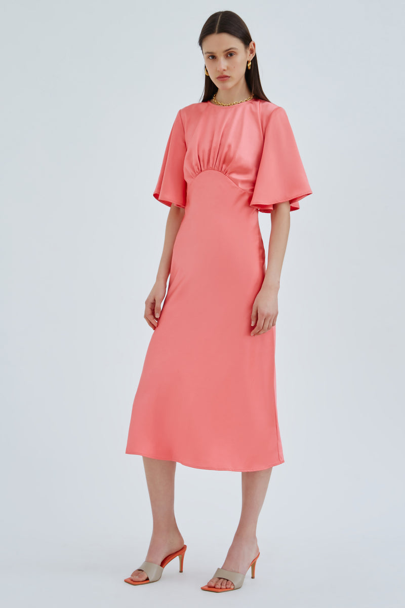 C/MEO-CONTRASTING-SS-DRESS-CORAL