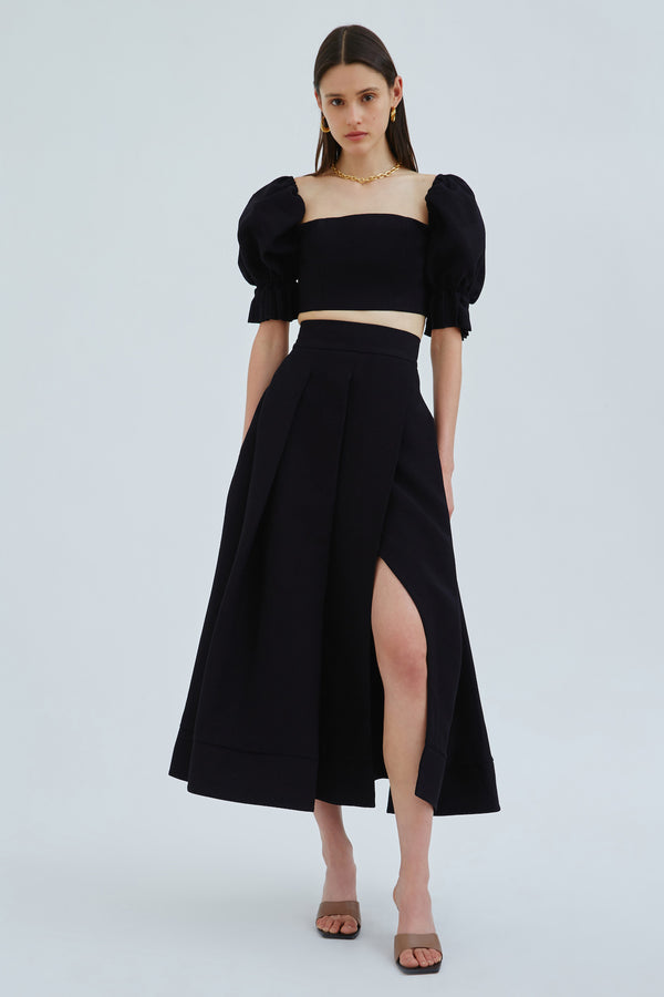 C/MEO-TURN-BACK-SKIRT-BLACK