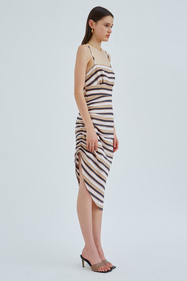 CMEO_COLLECTIVE_FRAME_SS_DRESS_IVORY_W_STONE_STRIPE